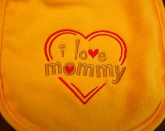 I Love Mommy Bib Baby Girl Baby Boy Yellow Bib Baby Shower Teething Toddler