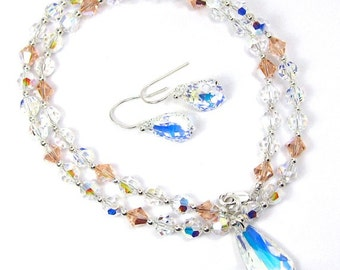 Swarovski Crystal and Teardrop Necklace and Earring Combo, Crystal AB and Light Peach Swarovski Crystal Necklace and Earring Set