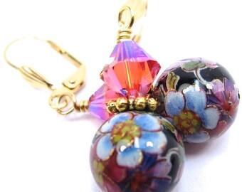 Flower Japanese Tensha and Swarovski Crystal Earrings