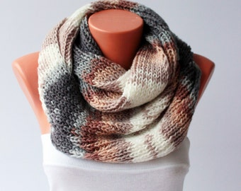 Chunky  knit  infinity crochet cowl scarf, knit cowl