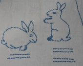 Vintage linen - Bunny tablecloth - cotton with chenille style stitching.