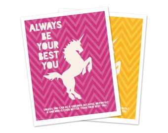 Funny Unicorn Poster - Typographic Digital Art Print - Fuchsia Hot Pink Chevron