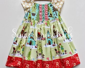 2T Sleigh Ride Girls Christmas Dress,  Ready to Ship, LAST ONE