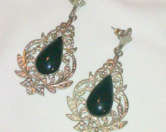Vintage Black Enamel Silver Tone Drop Earrings