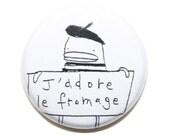 Cute Illustrated Magnets - 4Pk, Cute Fridge Magnets, J'Adore le Fromage, Bonjour, Paris, Beret, Black, White, Little French Poosac