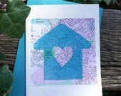 SALE Heart House /// block print greeting card