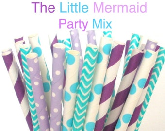 "Paper Straws ""The Little Mermaid"" Mix Paper Drinking Straws Cake Pop Sticks Mason Jar Paper Straws Wedding, Birthdays"