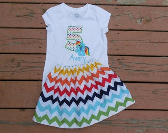 Girl's Toddlers Skirt and Shirt Personalized Outfit - Rainbow Chevron Skirt with Birthday Number and Rainbow Dash Appliquee Shirt