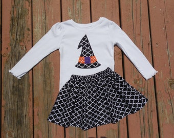 Girl's Toddlers Black Quatrefoil Skirt and Personalized Witch's Hat Applique Shirt