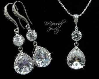 White Crystal Wedding Jewelry Teardrop Bridal Earrings Cubic Zirconia Bride Necklace Wedding Earrings Bridesmaid Gift CZ Wedding Necklace