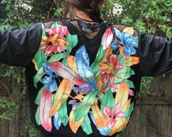 1980s Black Cut Out Cardigan Net Back Flower Applique Shirt Tropical Pier One Womens Vintage Medium