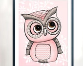 Pink and Grey Owl Art Printable - Instant Download