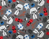 Karate Martial Arts Grey Cotton Fabric Fat Quarter or Custom Listing