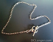Sterling Silver Necklace with Sterling Heart Toggle Clasp. Gorgeous. Choose your length.
