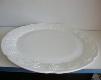 "Vintage Platter Milkglass 14"" diameter"