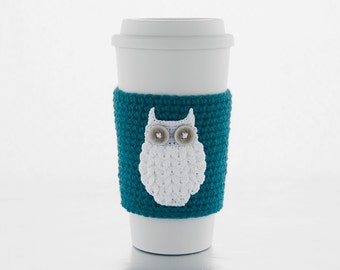Coffee Cozy, snow white woodland owl, crocheted, teal blue coffee sleeve, white owl, cup sleeve, cup cozy