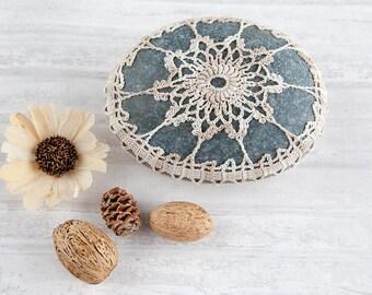 Crochet covered rock, variegated ecru and beige, crochet lace stone, beach wedding, ring pillow, bowl element, paperweight, fiber art object