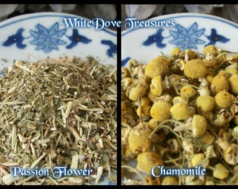 CHAMOMILE or PASSION FLOWER 1 oz. Dried - Tea Bath Sleep Serenity Love Peace Prosperity Purify Candle Altar Magic Skin Care Yellow Yarn Dye