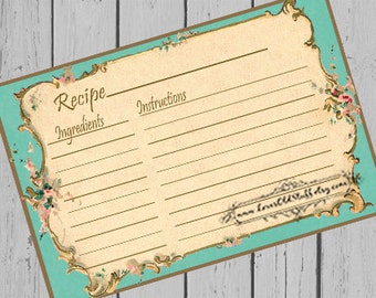 Printable Aqua Recipe Card Template 3.5x5 | 4x6 Recipe Cards | Turquoise 3x5 Blank Recipe Cards | Hostess Gift Ideas | Party Favors