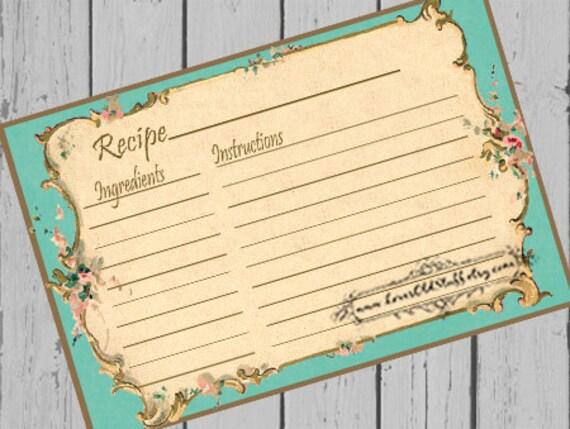 vintage recipe card templates