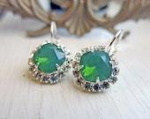 Green Opal Earrings Swarovski Crystal Earrings Bridal Jewelry Vintage Earrings Green Opal Jewelry Bridal Earrings Bridesmaid Earrings