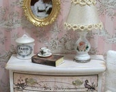 Dollhouse Miniature 1:12 Scale OOAK French cottage shabby chic table lamp - with roses