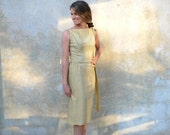1950s gold metallic cocktail dress - 60s shimmery wiggle party dress- medium