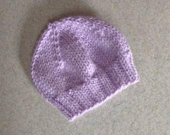 Lavender Newborn Baby Beanie, Photo Prop, Infant Hat
