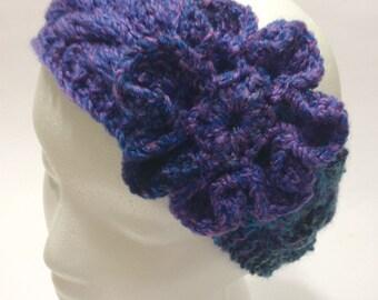 Knitted Headband, Cable, Crochet Flower, Handmade, Ear Warmer