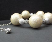 Winter Snow Bracelet:  Chunky Beaded Bracelet, White and Silver Sparkle Rose Fashion Accessory, Valentines Day Jewelry