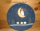 Hand painted plate, decorative plate, snowman decor, snowman plate, for decorative use only, snowman decor, winter decor, sheep,