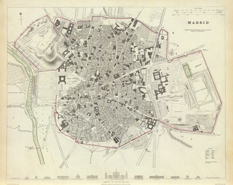 Vintage Map - Madrid, Spain – 1831