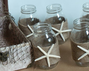 Beach Wedding Decor,  Mason Jars, Twine & Starfish, 20 JARS