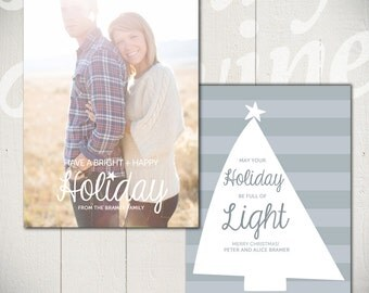 Christmas Card Template: Shine Bright B - 5x7 Holiday Card Template for Photographers