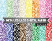 Lace Damask Pattern Digital Paper. Instant Download, Lace Background Image Download, Commercial Use Digital Papers
