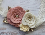 Large Rose Bouquet in Vintage pink and Creams with Gold Glitter- Photo Prop - SBB Original