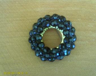 Vintage Black Glass Bead Austrian Brooch / Black Beaded Brooch -Pin