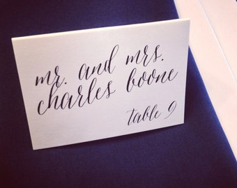 Printed & Tented Place Cards - Calligraphy