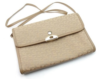 Vintage PIERRE CARDIN Logo Leather Convertible Shoulder Bag Envelope Clutch Purse