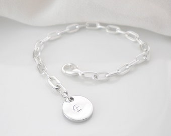 Silver initial charm bracelet, thick bold chain bracelet