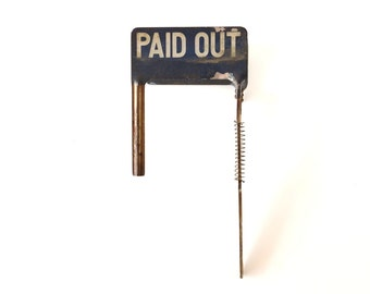 Vintage Cash Register Price Flag, PAID OUT (c.1920s) - Collectible, Home or Wedding Decor, Altered Art and more