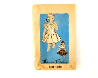 Vintage Child's One-Piece Dress by Marian Martin Pattern 9325, Complete (Size 4) (c.1950s) - Collectible, Sewing