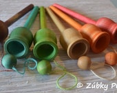 Rainbow Party Favors - Natural Wooden Cup and Ball Toss Game by Zúbky - Waldorf Montessori Game for Preschool Children