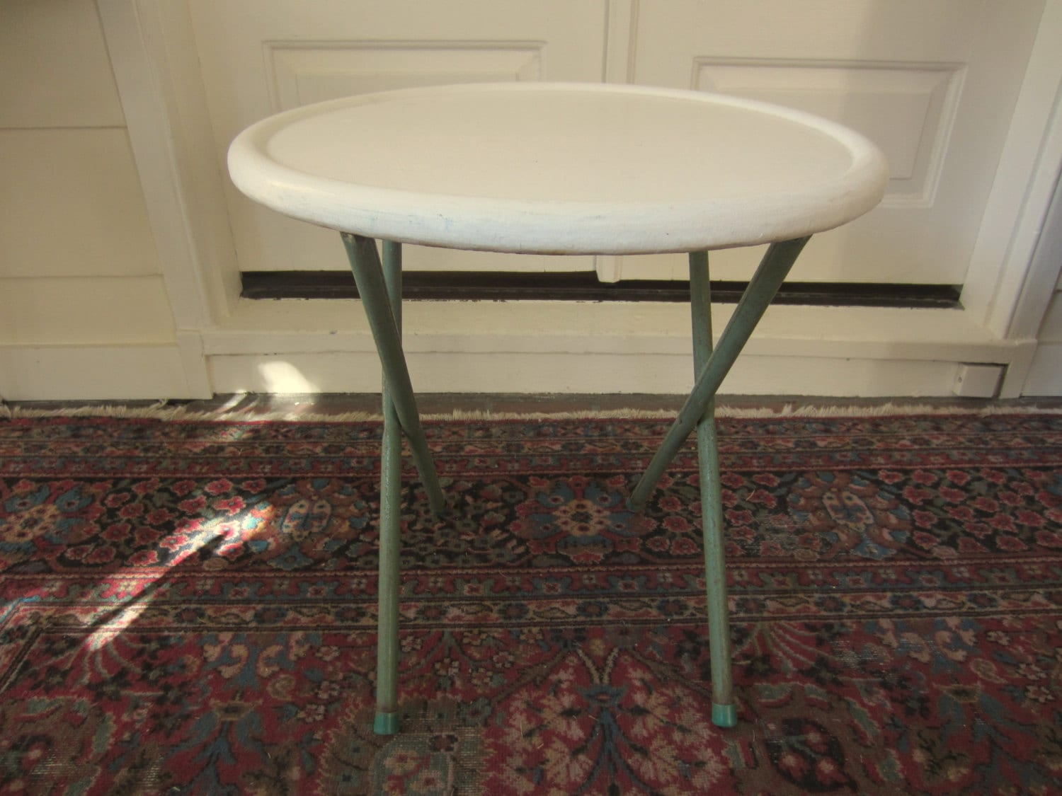 1950s Summer Patio Round Metal Folding Table Metal Folding Coffee Table Metal Folding Patio