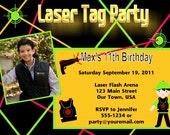 Customized Laser Tag Birthday Invitations