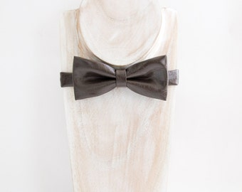 Textured Brown faux leather bow tie