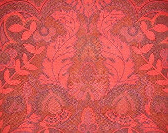 Retro Wallpaper by the Yard 70s Vintage Wallpaper – 1970s Dark Red Damask