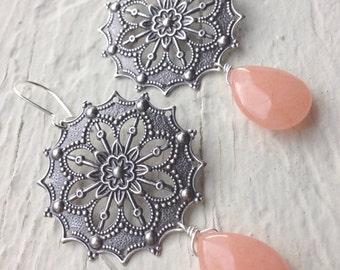 Just Peachy-Antiqued Silver and Peach Jade Drop Earrings