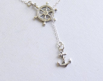 Sterling Silver Nautical Wheel and Anchor Lariat Necklace... Entirely Sterling Silver... Graduation... Journey