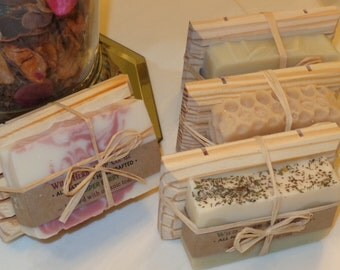 NATURAL Soap + WOODEN Dish (Set) Creamy, natural glycerin soap by Wild Herb